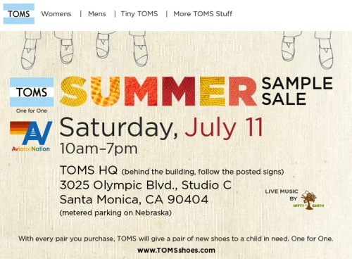 tom's sample sale